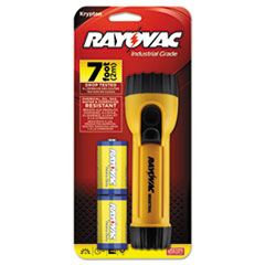 Picture of Industrial Tough Flashlight, 2 D Batteries, Yellow/Black