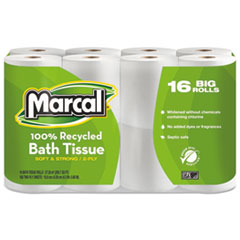 Picture of 100% Recycled Two-Ply Bath Tissue, White, 16 Rolls/Pack