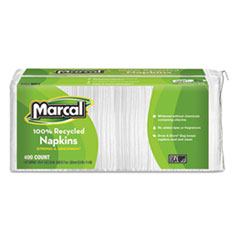 Picture of 100% Recycled Lunch Napkins, 1-Ply, 12 1/2 x 11 2/5, White, 400/Pack