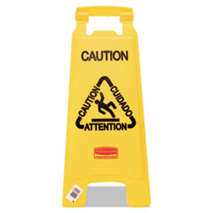 "Picture of Multilingual ""Caution"" Floor Sign, Plastic, 11 x 1 1/2 x 26, Bright Yellow"