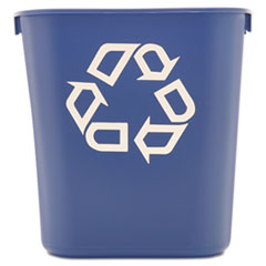 Picture of Small Deskside Recycling Container, Rectangular, Plastic, 13.625qt, Blue
