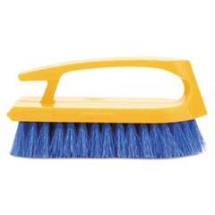 "Picture of Long Handle Scrub Brush, 6"" Brush, Yellow Plastic Handle/Blue Bristles"
