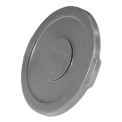 """Picture of Round Flat Top Lid, for 10-Gallon Round Brute Containers, 16"""", dia., Gray"""