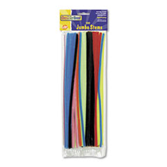 """Picture of Jumbo Stems, 12"""" x 6mm, Metal Wire, Polyester, Assorted, 100/Pack"""
