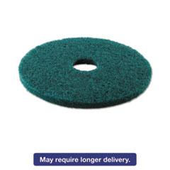 "Picture of Standard Heavy-Duty Scrubbing Floor Pads, 13"" Diameter, Green, 5/Carton"