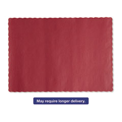 Picture of Solid Color Scalloped Edge Placemats, 9 1/2 x 13 1/2, Red, 1000/Carton