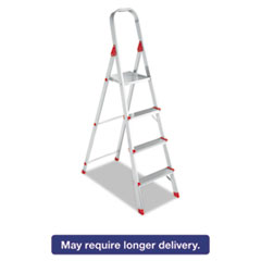Picture of #566 Folding Aluminum Euro Platform Ladder, 4-Step, Red