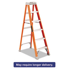 "Picture of Fiberglass Heavy Duty Step Ladder, 73 3/5"", 5-Step, Orange"