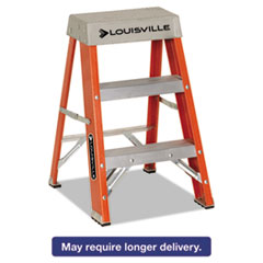 "Picture of Fiberglass Heavy Duty Step Ladder, 28 3/8"", 2-Step, Orange"