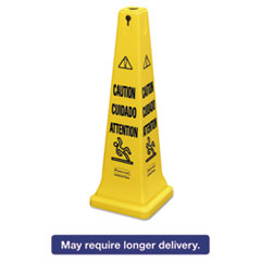 "Picture of Multilingual Safety Cone, ""CAUTION"", 12 1/4w x 12 1/4d x 36h, Yellow"