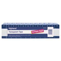 "Picture of Transparent Tape, 3/4"" x 1000"", 1"" Core, Clear, 12/Pack"
