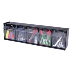 Picture of Tilt Bin Plastic Storage System w/5 Bins, 23 5/8 x 5 1/4 x 6 1/2, Black