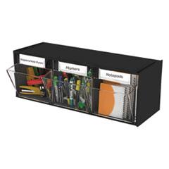 Picture of Tilt Bin Plastic Storage System, 3 Bins, 23 5/8 x 7 3/4 x 9 1/2, Black