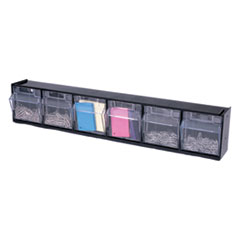 Picture of Tilt Bin Plastic Storage System w/6 Bins, 23 5/8 x 3 5/8 x 4 1/2, Black