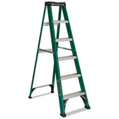 Picture of #592 Folding Fiberglass Step Ladder, 6 ft, 5-Step, Green/Black