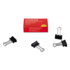 "Picture of Small Binder Clips, 3/8"" Capacity, 3/4"" Wide, Black, 12/Box"