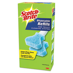 """Picture of Disposable Toilet Scrubber Refill, 3"""", Blue, 10/Pack"""