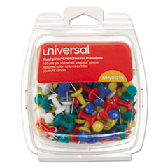 """Picture of Colored Push Pins, Plastic, Rainbow, 3/8"""", 100/Pack"""