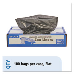 Picture of 100% Recycled Plastic Garbage Bags, 56gal, 1.5mil, 43 x 49, Brown/Black, 100/CT