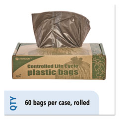 Picture of Eco-Degradable Plastic Trash Bag, 20-30gal, .8mil, 30 x 36, Brown, 60/Box
