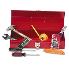 Picture of 16-Piece Light-Duty Office Tool Kit, Metal Box, Red