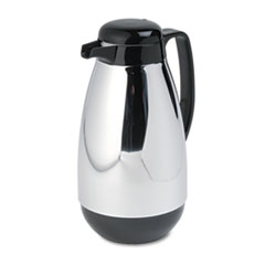 Picture of Vacuum Glass Lined Chrome-Plated Carafe, 1L Capacity, Black Trim