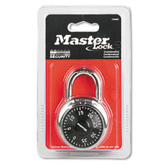 "Picture of Combination Lock, Stainless Steel, 1 15/16"" Wide, Black Dial"