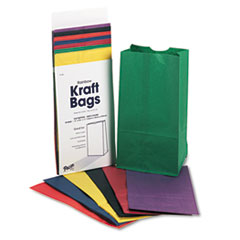 Picture of Rainbow Bags, 6# Uncoated Kraft Paper, 6 x 3 5/8 x 11, Assorted Bright, 28/Pack