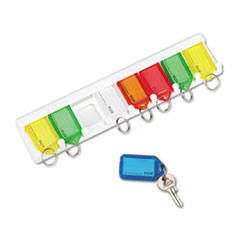 Picture of Color-Coded Key Tag Rack, 8-Key, Plastic, White, 10 1/2 x 1/4 x 2 1/2
