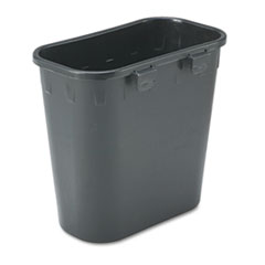 Picture of Paper Pitch Recycling Bin, Rectangular, Polyethylene, 1.75gal, Black