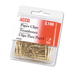 "Picture of Paper Clips, Metal Wire, #2, 1 1/8"", Gold Tone, 100/Box"