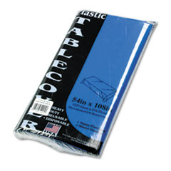 Picture of Table Set Rectangular Table Cover, Heavyweight Plastic, 54 x 108, Blue, 6/Pack