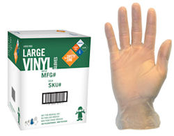 Picture of Glove, Large, Vinyl,  Powdered, Disposable, 100/BX