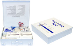 Picture of First Aid Kit, 50-Man Kit,  Metal Box W/Wall Moutable Clips